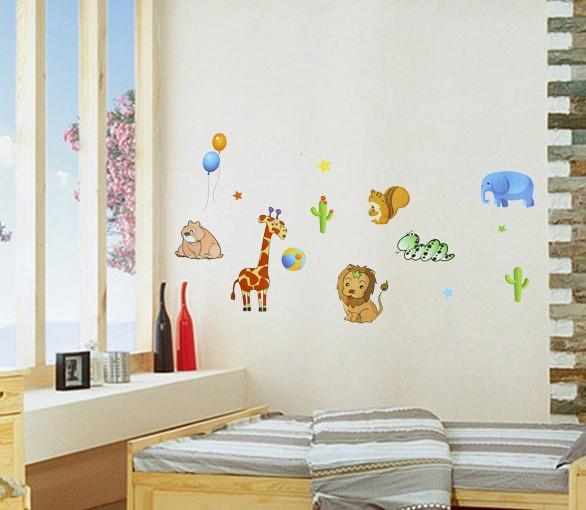 happy zoo decor art wall mural deco wall sticker children 39 s room wall applique wall appliques. Black Bedroom Furniture Sets. Home Design Ideas