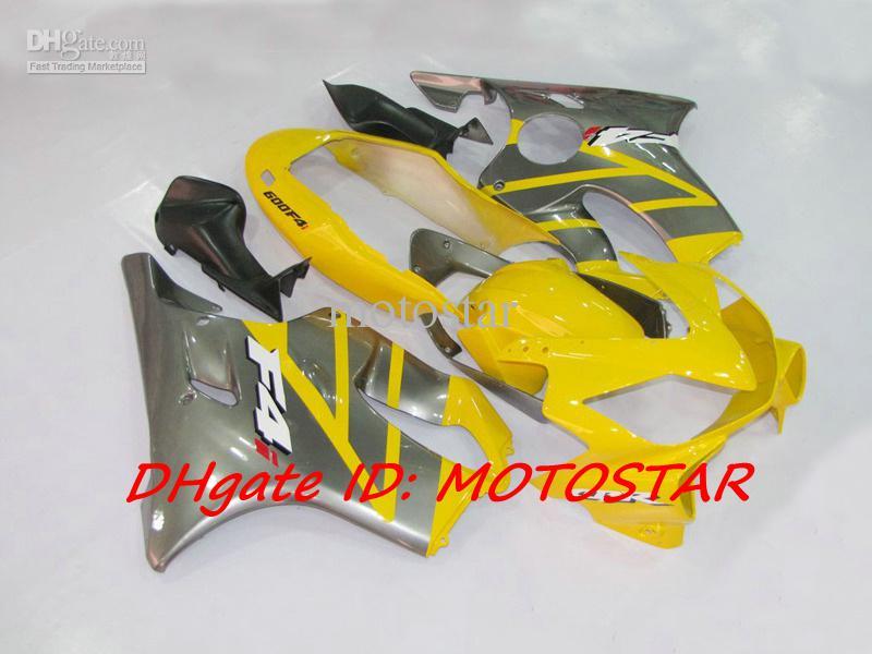 혼다 CBR600F4i 2004-2007 용 옐로우 회색 차체 키트 CBR600 F4i 04 05 06 07 CBR 600 전체 페어링