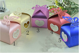 Wholesale Ivory Paper Box - NEW 50pcs lot 5 color Pearl paper core butterfly candy Wedding Bridal Favors Candy Party Boxes Favor