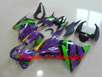 12 carenados morados al por mayor-Kit de carenado N259 verde púrpura para Kawasaki Ninja 250R ZX250R ZX 250 2008 - 2012 EX250 08-12 carrocería