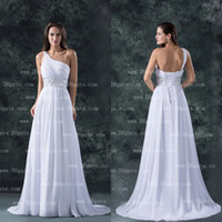 Custom Made 2015 White A-line One Shoulder Floor Length Бусины шифон свадебное платье свадебное платье с кружевом WD114