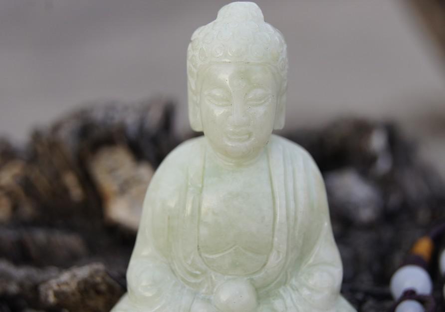 Китайские древние резьба статуи, украшенные, нефрит белый нефрит Будда, талия кулон, ожерелье, кулон.