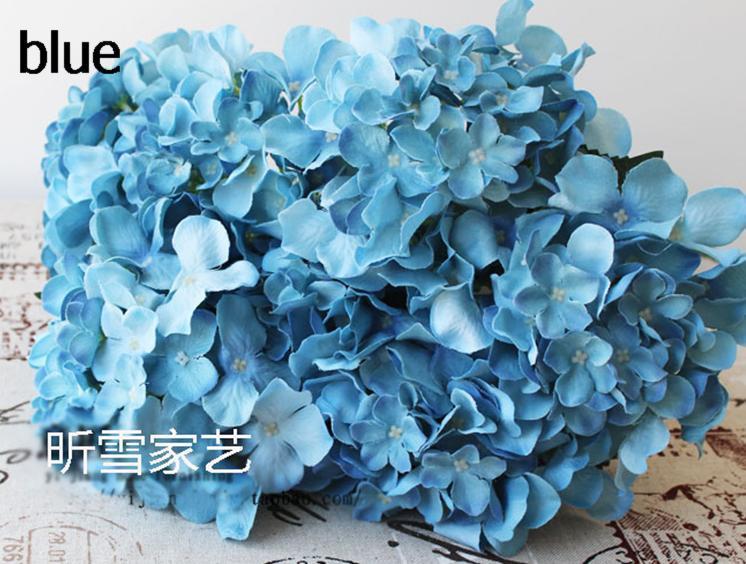 60 P branco / Roxo / Verde / Rosa / Azul / Vermelho De Seda Artificial Hortênsia pincushion Laurustinus Flor Única Haste por Bush Wedding Bouquet de Natal