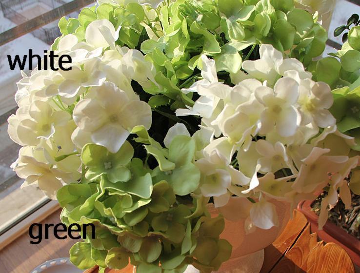 Trevlig 20p silke artificiell hortensia pincushion laurustinus blomma singel stam bush bröllop hem parti dekorativa blommor