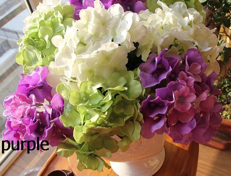 60P white/Purple/Green/Pink/Blue/Red Silk Artificial Hydrangea pincushion Laurustinus Flower Single Stem Bush Wedding Bouquet Christmas