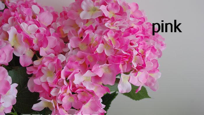 뜨거운 실크 단일 줄기 수국 인공 꽃 수국 핀쿠션 Laurustinus 꽃 DIY 웨딩 꽃다발 액세서리