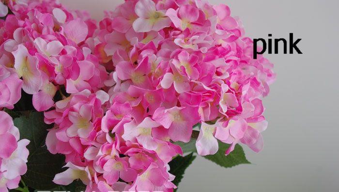 60P 화이트 / 퍼플 / 그린 / 핑크 / 블루 / 레드 실크 인공 수국 핀쿠션 Laurustinus 꽃 부시 웨딩 부케 크리스마스 당 단일 줄기