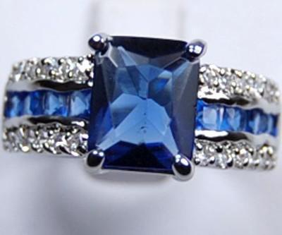 Genuine Blue Turmalin Tansanit Silber Ring Sz: 7 8 9