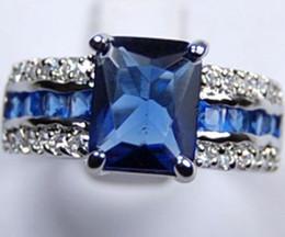Wholesale Genuine Gold Silver Rings - Genuine Blue Tourmaline Tanzanite Silver Ring Sz:7 8 9