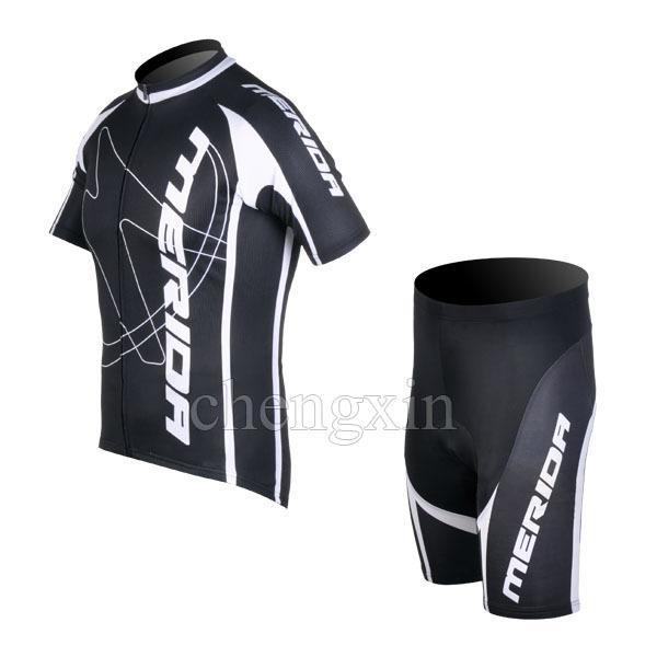サイクリングウエアブラックホワイト半袖サイクリングジャージー+ショートパンツ2012メリダセットサイズ:XS-4XL M042