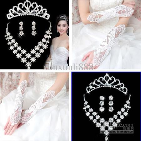 Cheap wedding accessories glove with bridal jewelry diamond tiara see larger image junglespirit Image collections