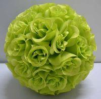 künstliche grüne rose blume ball großhandel-2019 silk kissing roses blume ball künstliche seidenblume ball 30cm durchmesser grüne farbe