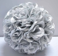 """Wholesale Ball Roses Bouquet - Lot of 10 silver color artificial rose Flower Kissing Balls 12"""" diameter"""