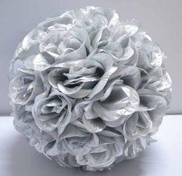 "Wholesale Silver Kissing Balls - Lot of 10 silver color artificial rose Flower Kissing Balls 12"" diameter"