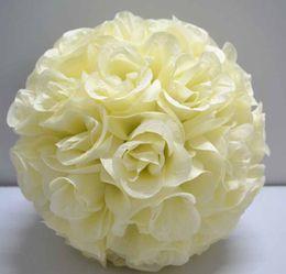Wholesale Ivory Silk Wedding Flower Balls - Very beautiful 12inch Ivory color Silk Rose Kissing Ball Wedding Flower Decoration