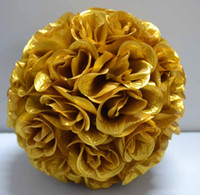 Wholesale Gold Kissing Balls Wholesale - 2016 Gold Rose Kissing Ball Pew Bows Pomander Wedding Decoration