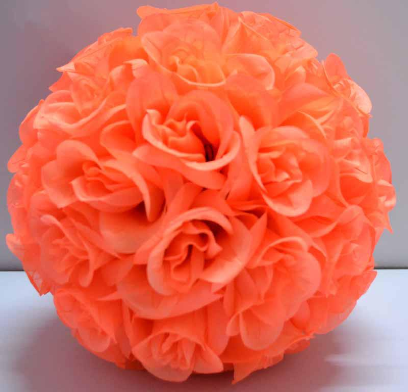 Deep Orange Color Flower Kissing Ball Pomander Hanging Pew Bows