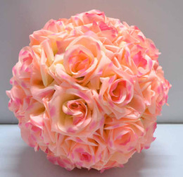 Wholesale Pink Pomander - 10 Pcs 12'' Rose Pink Kissing Ball Pomander Wedding Decorations Flower Pew Bows