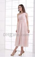 Wholesale Tea Length Empire Bridesmaid Dresses - 2015 Pink One Shoulder Pleated Chiffon Bridesmaid Dresses Empire Ribbon Tea Length Dresses MZ087