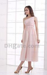 Wholesale Empire One Shoulder Bridesmaid Dress - 2015 Pink One Shoulder Pleated Chiffon Bridesmaid Dresses Empire Ribbon Tea Length Dresses MZ087
