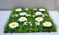 Wholesale Artificial Plastic Boxwood Mat - Hot Sale artificial plastic grass mat boxwood mat with silk white daisy flower