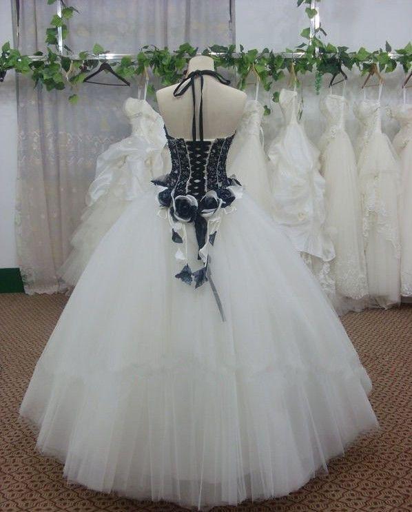 Weißes und schwarzes Spitze-Blumen-Dekorations-Tüll-Ballkleid-langes Kleid nach Maß für Abschlussball-formales Kleid nach Maß