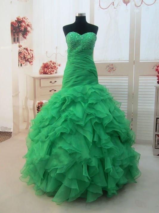 2016 Kabarık Quinceanera Elbiseler Yeşil Sevgiliye Boncuk Organze Mermaid Uzun Balo Balo Elbise 2016