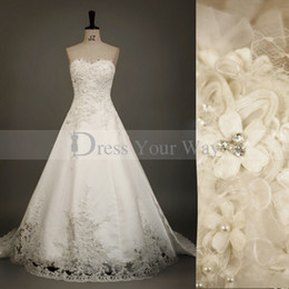 Wholesale Red Wedding Gown Accents - Elegant Strapless Fashion Lace Wedding Dress Embroidery Lace Appliques Abundant Pearls Accent Vintage Church Bridal Gown DZ068