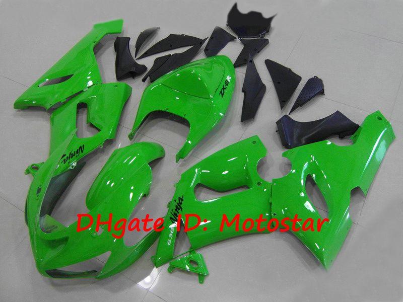 All Green ABS fairings kit for Kawasaki Ninja ZX-6R 2005 2006 ZX6R 636 05 06 ZX 6R ZX-6 bodywork