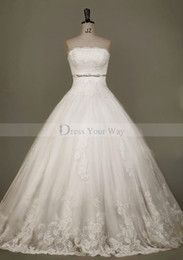 Wholesale Strapless Ball Gown Cathedral Train - Empress Strapless 2014 Ball Wedding Dress Crystal Cathedral Train Lace Appliques Bridal Gowns DZ071
