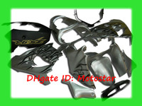 Wholesale zx9r full fairing kit - black flame in silver bodywork kit for kawasaki Ninja ZX-9R 2002 2003 ZX9R 02 03 ZX-9 full fairings