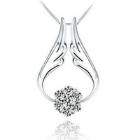 Wholesale Platinum Full 925 Sterling Silver - Perfect quality Hearts and Arrows a three wearing full diamond pendant 925 sterling silver necklace