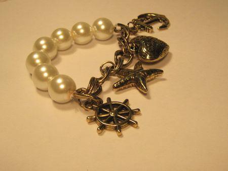 Vintage-Mode Anchor Seestern Ruder geschnitzt Pfirsichherz große Perlenarmband Frauen Weihnachtsgeschenke 15pcs