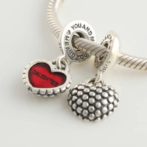 Morceau authentique en argent sterling 925 de mon coeur mère fille balancent une perle avec émail rouge correspond à bracelet à charme européen Pandora