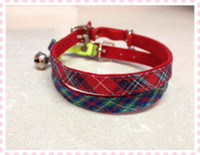 Wholesale Elastic Cat Collars - Free shipping pet cat collar classic pattern with elastic belt velvet lining red blue 50pcs lot