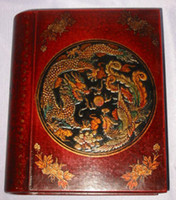 Cuero de cuero chino tallado Dragon Phoenix Book Box