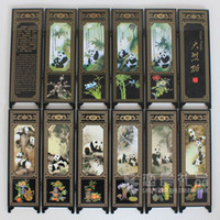 Wholesale cheap Chinese Panda Lacquer Painting Beautiful Folding Screen