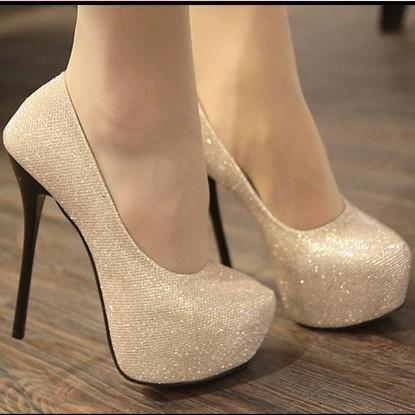 Women's Shoes Hidden Platform High Stiletto Heels Pumps Light Gold ...