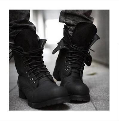 Retro Combat Boots Winter Punk Style Fashionable Men's Short Black ...