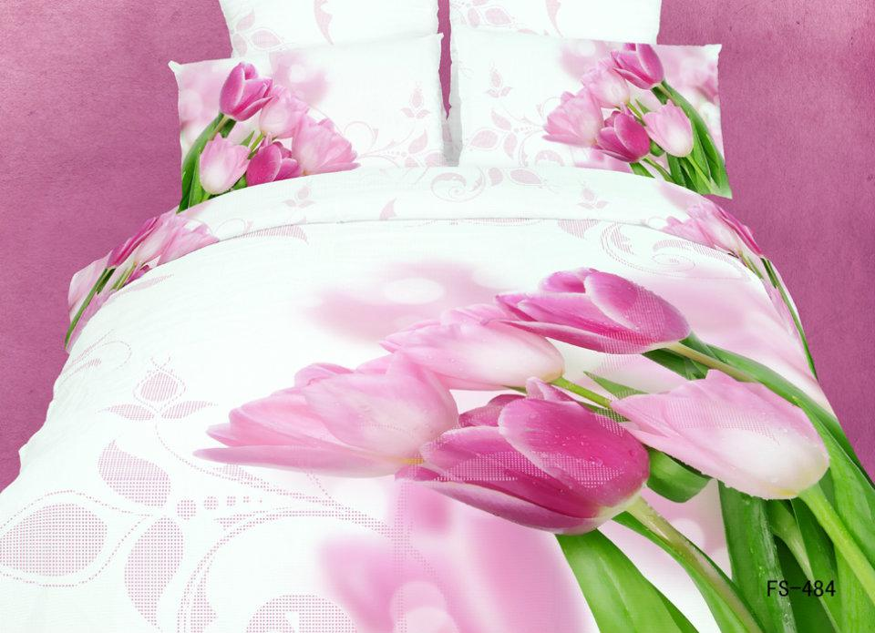 TULIP 100/% Cotton Rich QUEEN Fitted Printed Bedsheet Set with 2 Pillow Covers