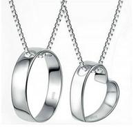 Wholesale Platinum Plated Couple Necklace - Perfect the couple pendant minimalist heart phase-Indian couple necklaces genuine explosion models