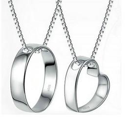 Wholesale Couple Necklaces Platinum - Perfect the couple pendant minimalist heart phase-Indian couple necklaces genuine explosion models