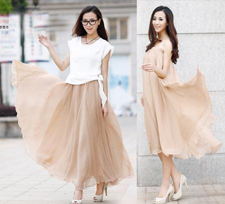 Hot Summer Skirts Fashion Women Chiffon Skirt Casual Runway Dress Sexy Long Skirt Club Party Dress Ladies Summer Skirts Girls Dress