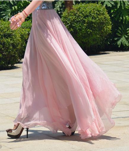 Beaucoup Couleur Jupes De Mode 2018 Femmes D'été Mousseline De Soie Jupes Beach Party Dress Sexy Dames Robe Maxi Jupe Fille Stretch Taille Band Jupe Longue