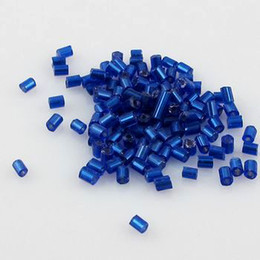 Wholesale Glass Bead Tubes - Jewelry Making 5000 Pcs 2X3mm Tube Czech Glass Spacer Beads Blue ColorDIY Jewelry