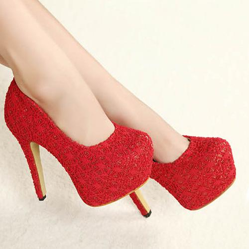 Women Red High Heeled Shoes 2013 Bridal Lace Wedding Shoes Girl ...