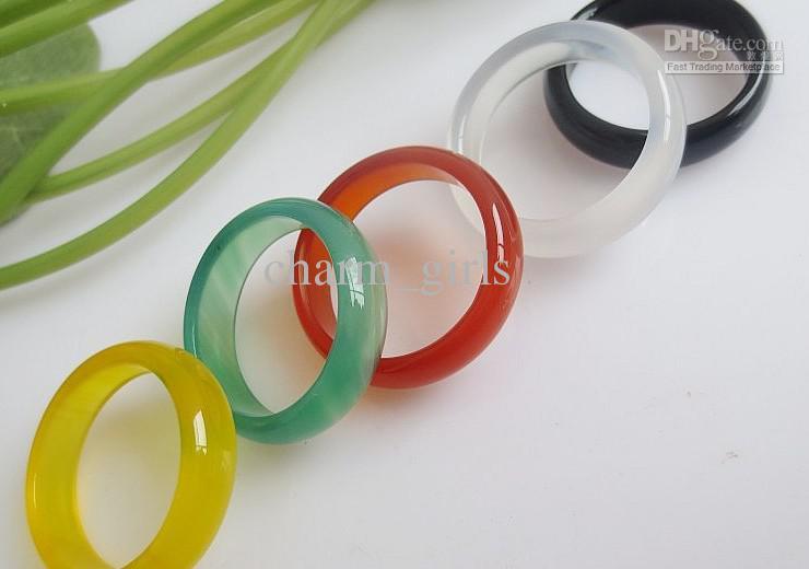저렴 한 주식 처리 50pcs 다채로운 천연 마노 반지 6MM 옥수 보석 반지