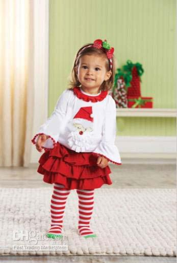 2017 Girls Suits Toddler Christmas Dress Suit Long Sleeve T Shirt ...