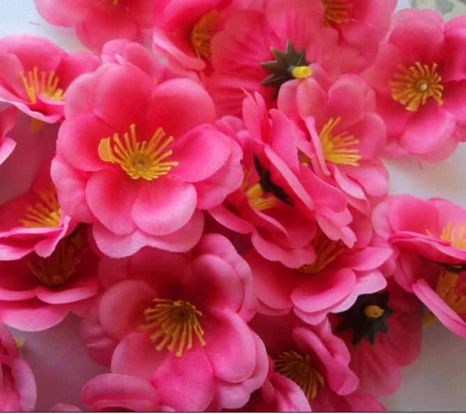 500p 5.5cm Soie Artificielle Fleurs De Simulation Chaude Rose Couleur Pêche Fleur pour DIY Bouquet De Mariée