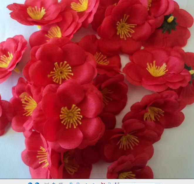 5,5 cm silke blomma huvuden konstgjorda persika blommar simulering blommor fem färger för DIY brudbukett